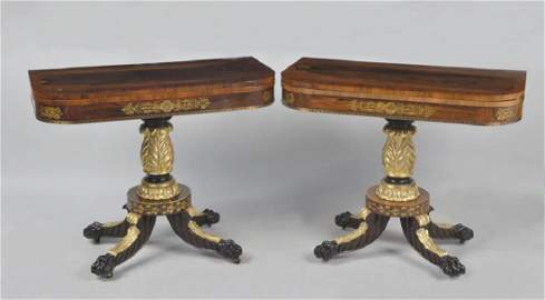Pair NY Classical Stenciled Rosewood Card Tables