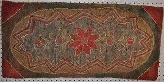 American Folk Art Floral Hooked Rug
