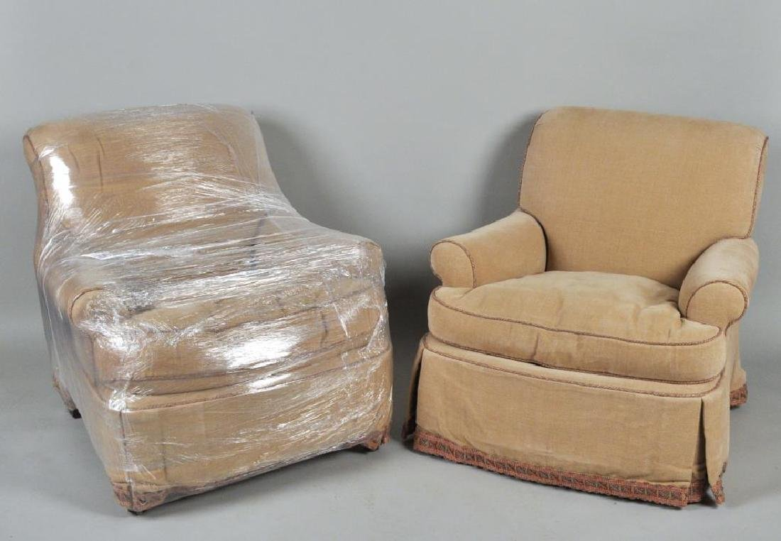 Pair Lee Jofa Designer Upholstered Club Chairs