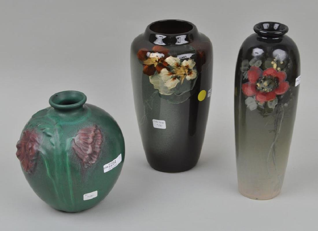 A Weller Lamp Base and 2 Unsigned Vases