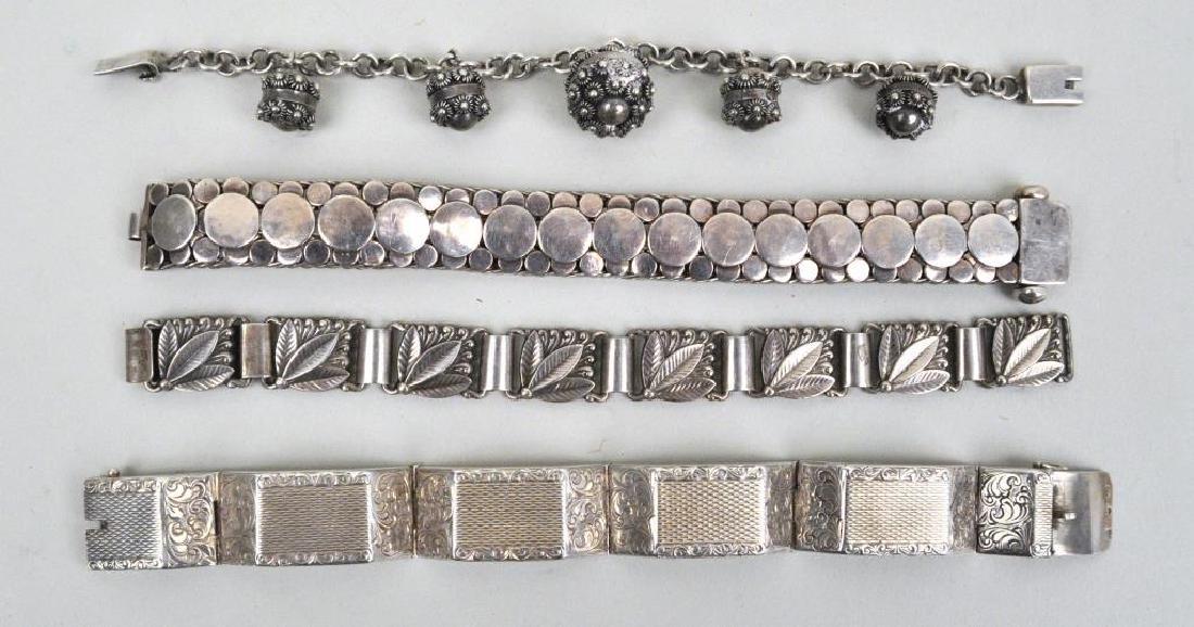 Four Vintage Silver Bracelets