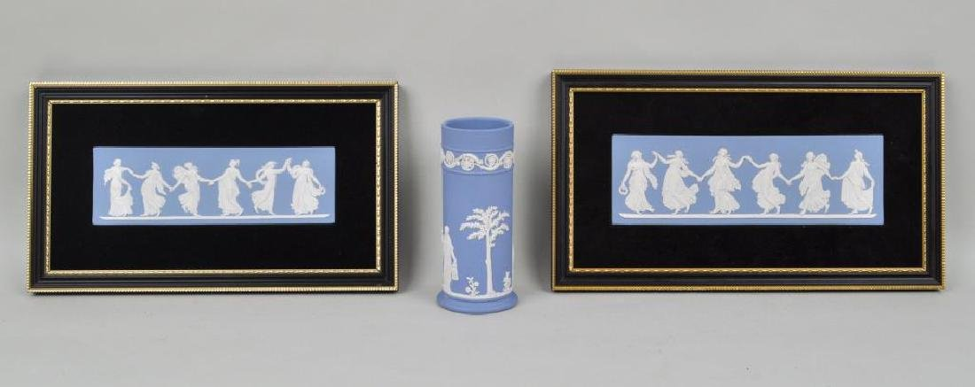 Wedgewood Porcelain Group, Two Plaques & Vase