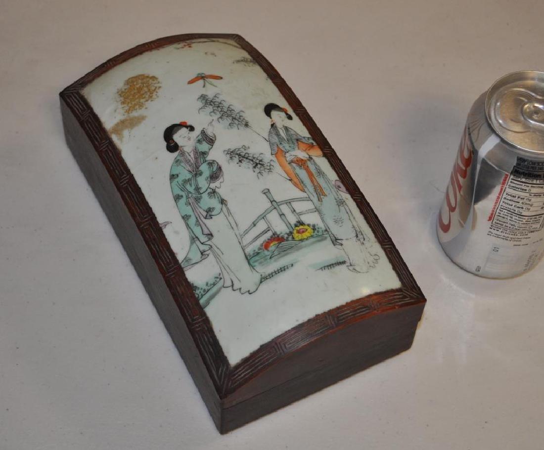 Chinese Export Famille Rose Lidded Hardwood Box