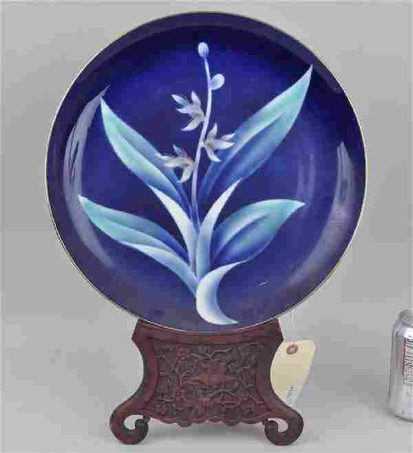 Japanese BlueWhite Floral Charger 20th C
