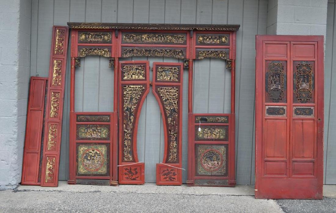 Chinese Red Lacquer Carved/Gilt Room Panels