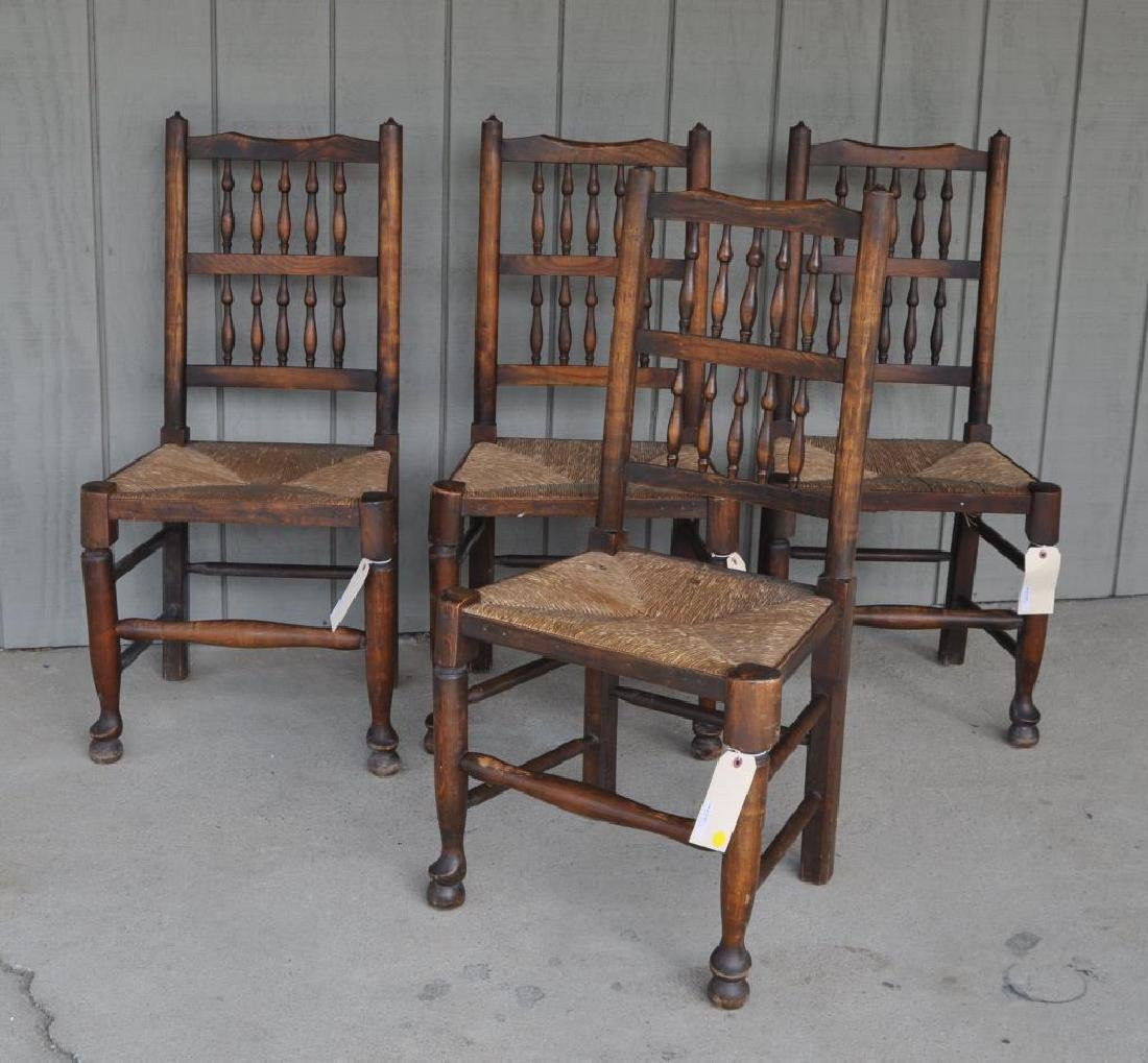 Set Four English Yorkshire Style Oak Dining Chairs