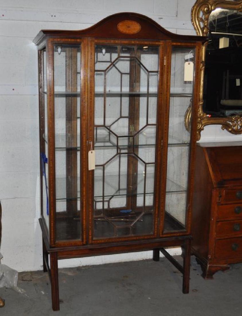 Edwardian Inlaid Mahogany Vitrine Cabinet/Stand