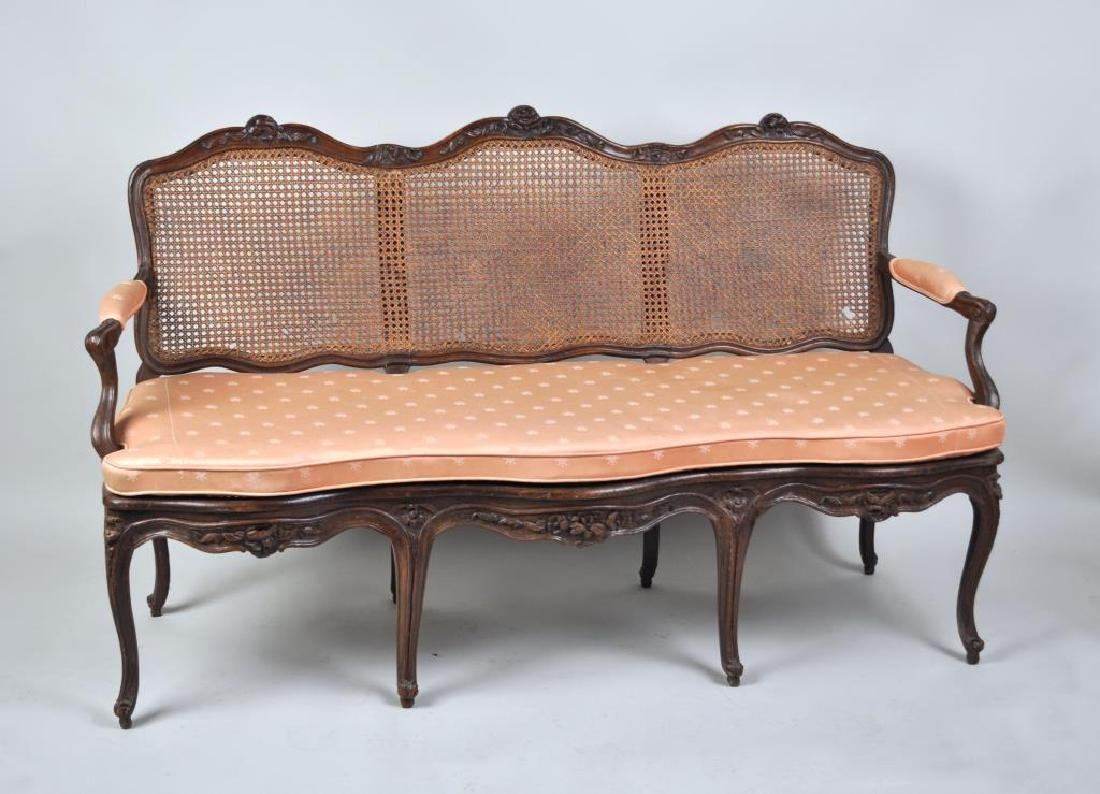 Louis XV Style Carved Walnut 3 Chair Back Settee