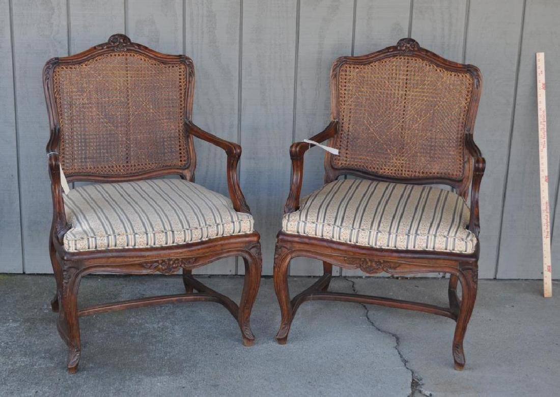 Pair Louis XV Style Carved Walnut Arm Chairs