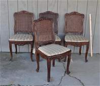 Set Four Louis XV Style Carved Walnut Side Chairs