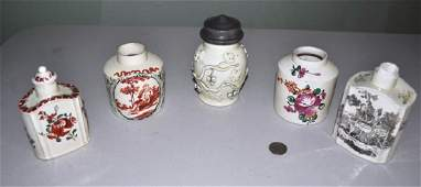 Estate Group Five Creamware Tea Caddies