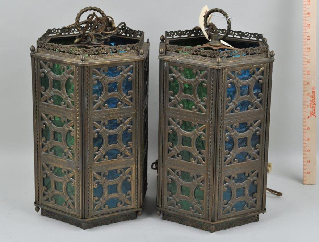 Pair Gothic Revival Brass Hanging Lamps