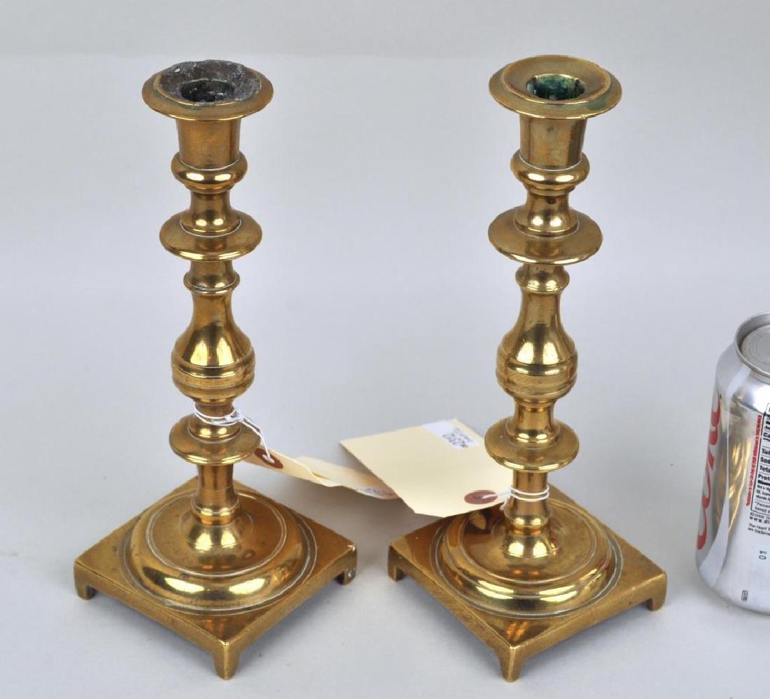 Pair Continental Brass Candlesticks