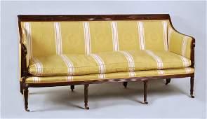 Duncan Phyfe Curved Arm Carved Mahogany Sofa