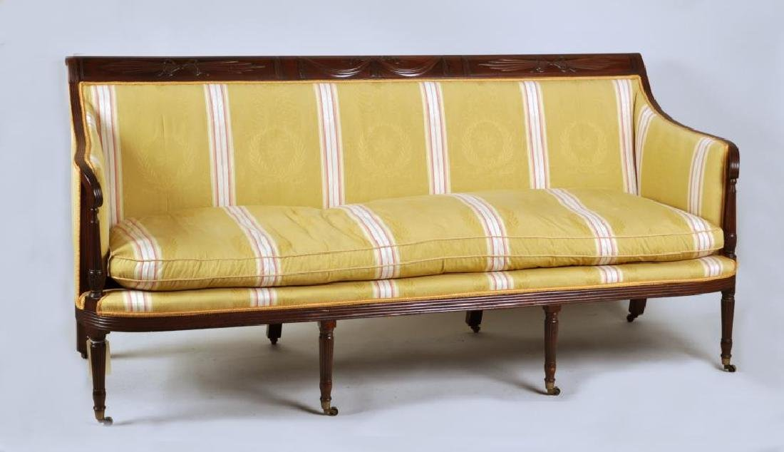 Duncan Phyfe Curved Arm Carved Mahogany Sofa