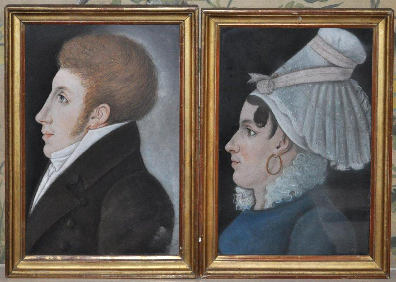 Pair Antique Pastel Portraits