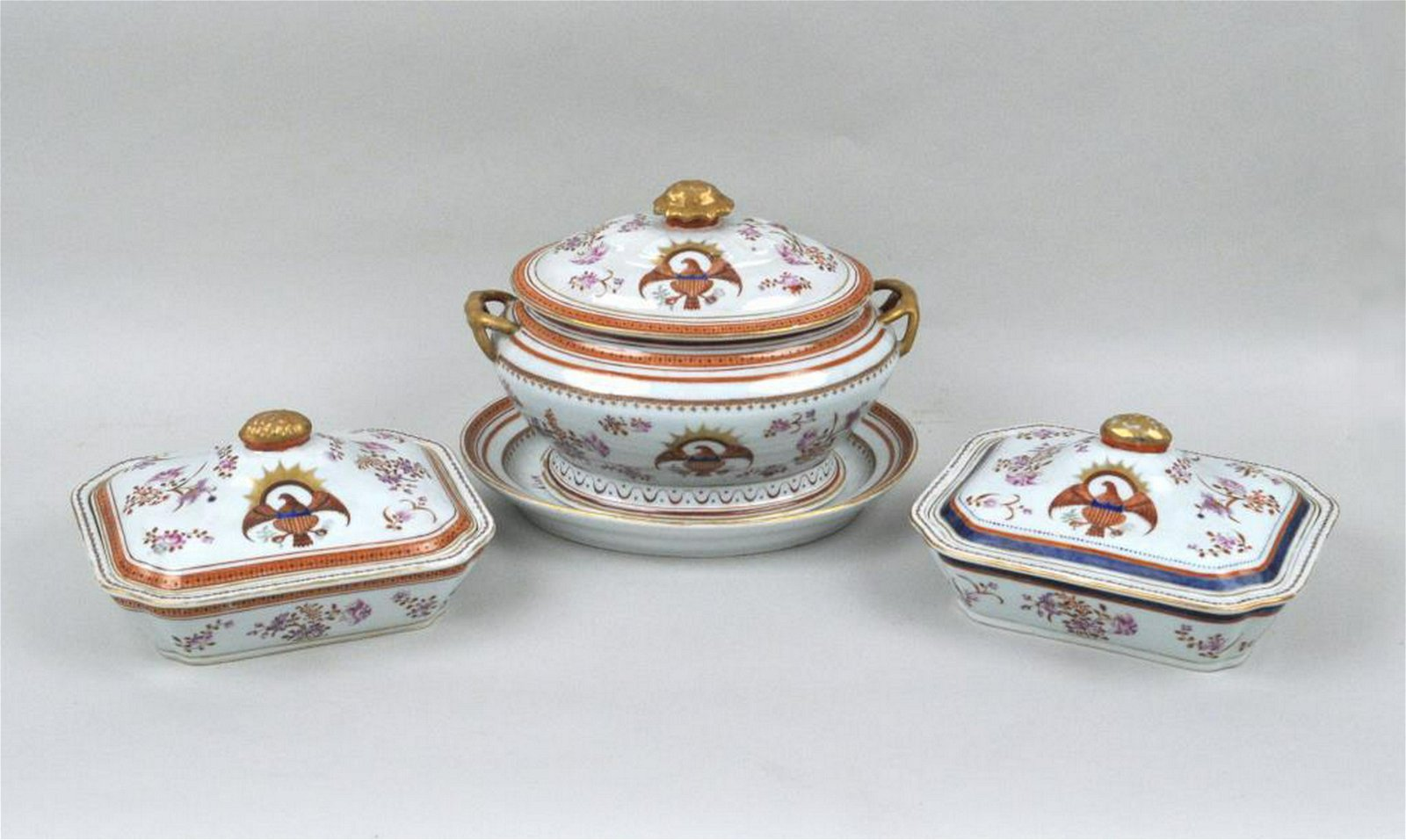 Eagle Decorated Chinese Export Porcelain Group