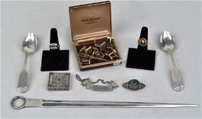 Estate Lot Gold Jewelry, Silver & Sheffield Items
