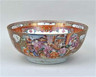 Large Chinese Export Rose Mandarin Bowl
