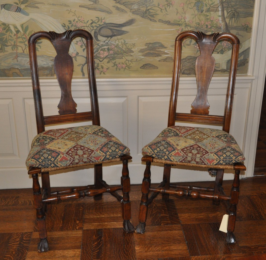 Pair Country Queen Anne Spanish Foot Side Chairs
