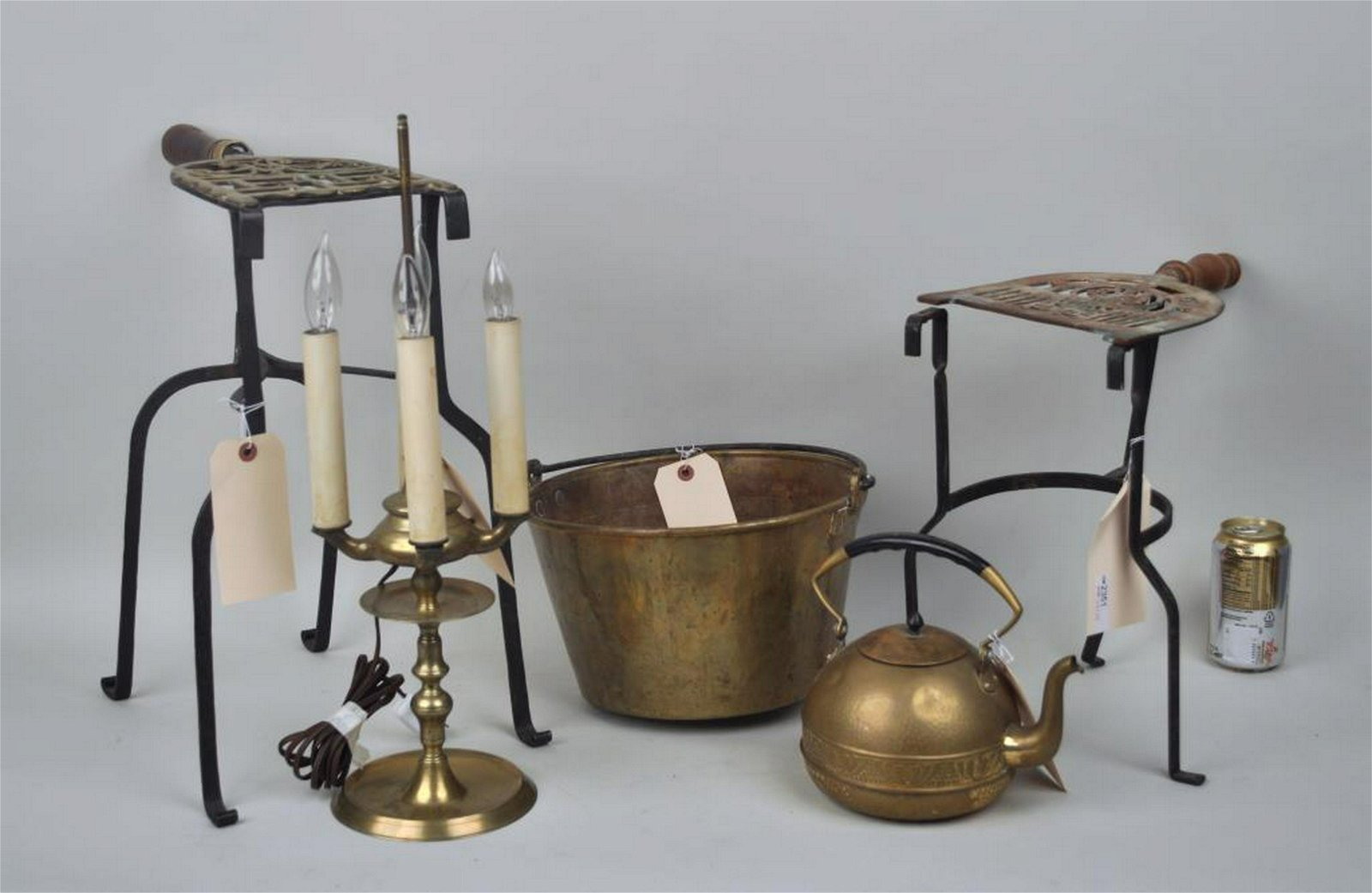 Group Five Vintage Brass Hearth Items