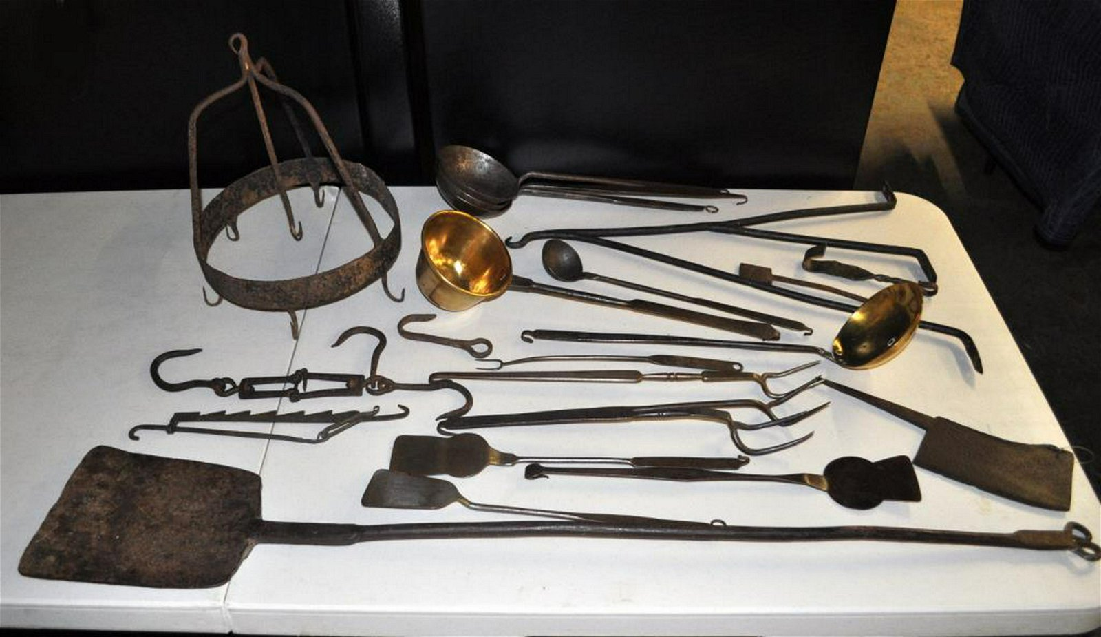 Group Antique Wrought Iron/Brass Kitchen Items