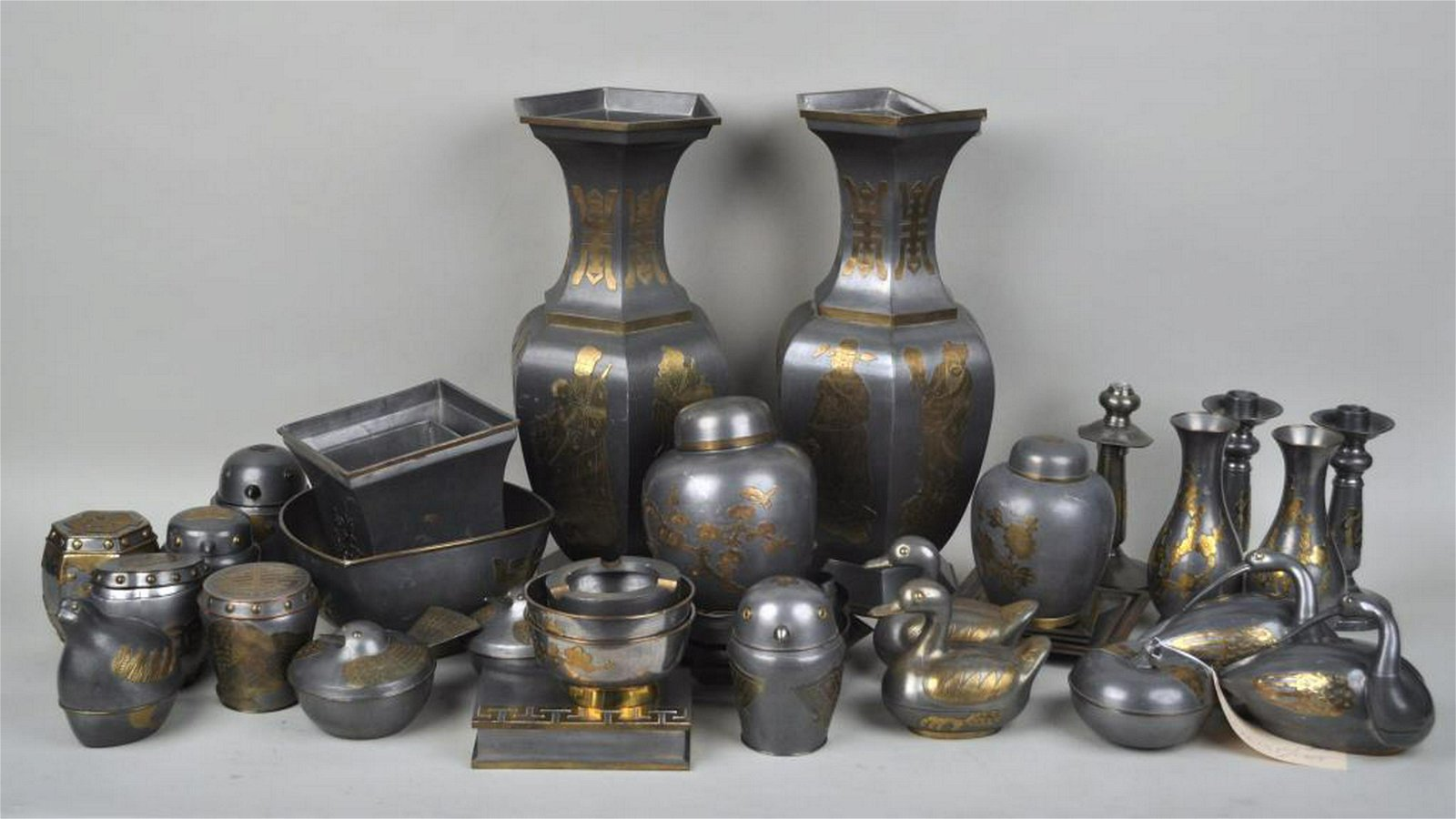 Group Chinese Pewter/Brass Items
