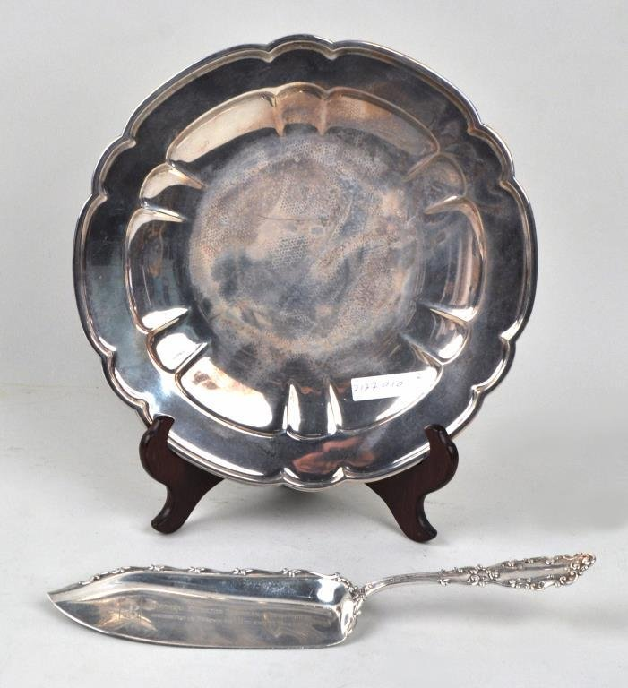 Sterling Silver Fish Server & Scalloped Dish