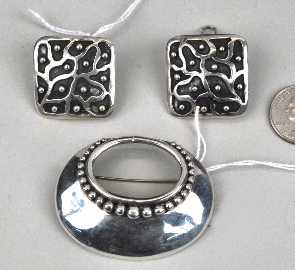 Modernist Sterling Pin & Pair Earrings