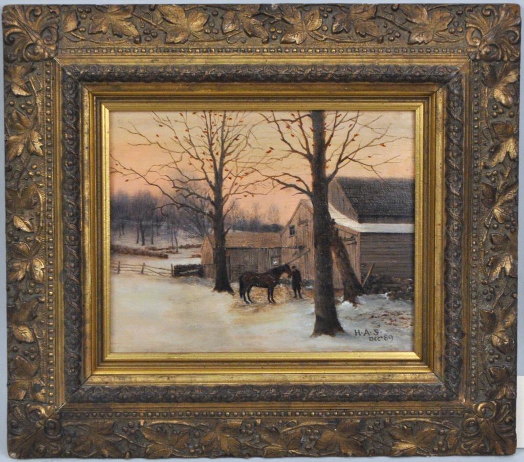 American School, Winter Scene, Signed H.A.S, O/C