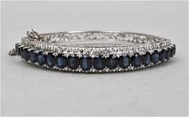 14K White Gold, Sapphire & Diamond Bracelet
