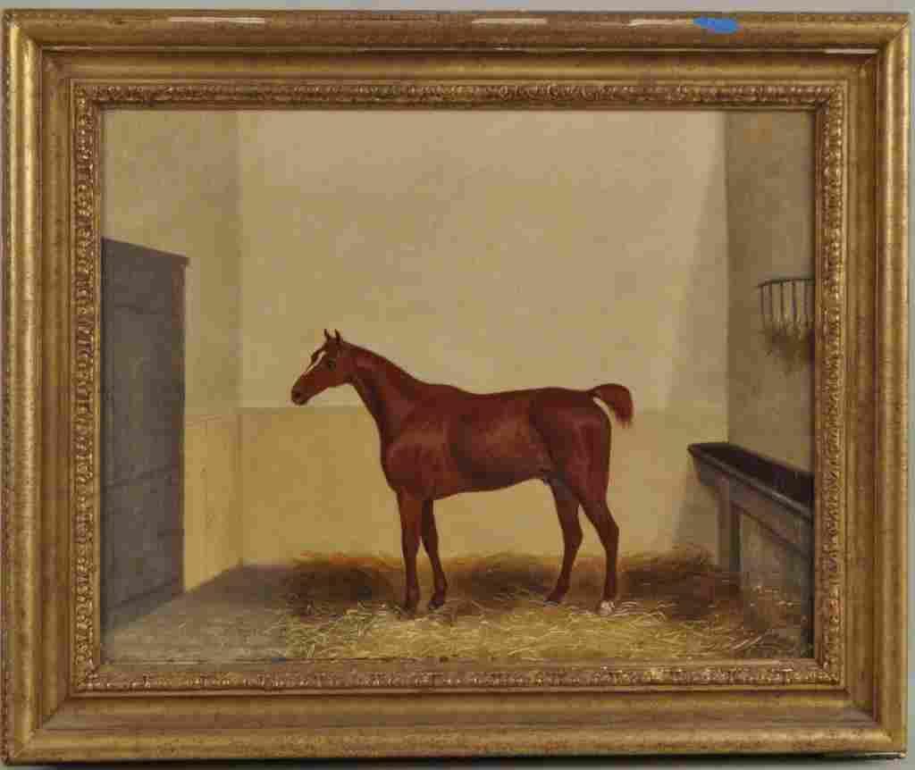 J. Pollett, O/C Equestrian Painting, 19th C.