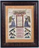 Framed 19th Century Pennsylvania Fraktur