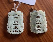Pair Chinese Carved Hardstone Pendant Earrings