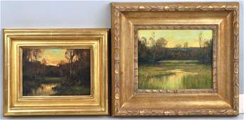 Two Small American School Landscapes, O/C