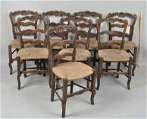 Set Eight French Provincial Dining Chairs