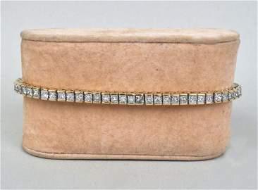 14K Gold & Princess Cut Diamond Bracelet