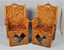 Pair Outsider Folk Art Armchairs