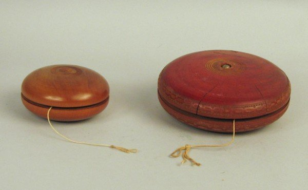 16: Two Large Vintage Wooden YoYo's