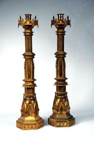 21: Pair (2nd) Gilt Brass Candlesticks, 19th C.