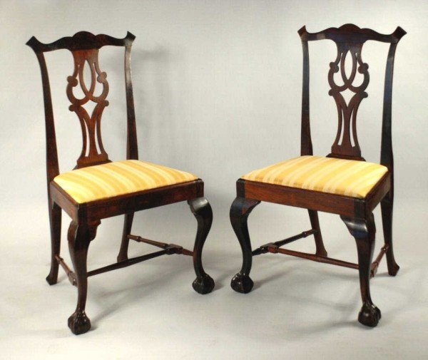 101: Pair Export Chippendale Chairs, 18th C.