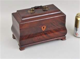 George III Bombe Form Mahogany Tea Caddy