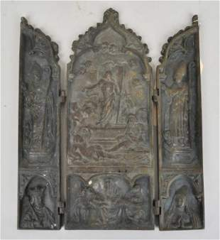 Triptych Bronze Gothic Design Traveling Icon