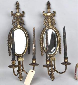 Pair Neoclassical Style Bronze Mirrored Sconces