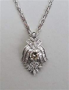 18K White Gold & Diamond Pendant/14K Gold Chain