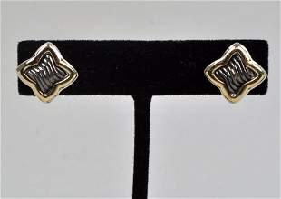 Pair David Yurman 18K Gold & Sterling Earrings