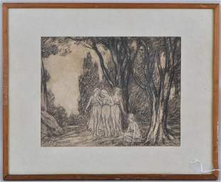 Framed Pencil & Charcoal Drawing, Wood Nymphs