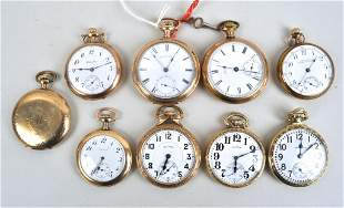 Group Nine Gold Tone Pocket Watches