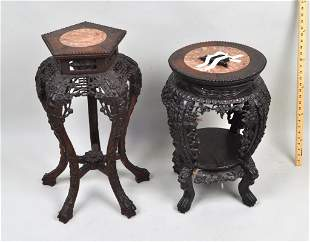 Two Chinese Carved Hardwood Marble Inset Stands