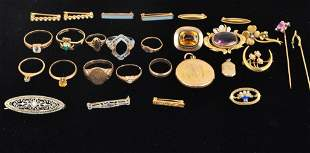 Group of Gold, Silver and Stone Jewelry